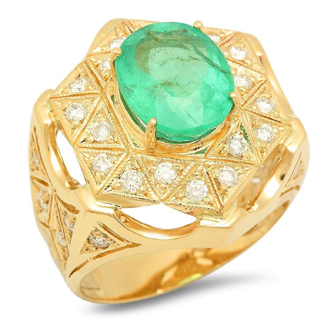 14K Gold 4.89ct Emerald 1.08cts Diamond Ring