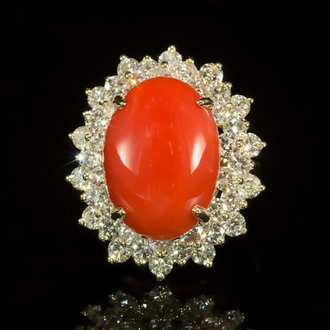 14K Gold 8.69ct Coral 2.98ct Diamond Ring