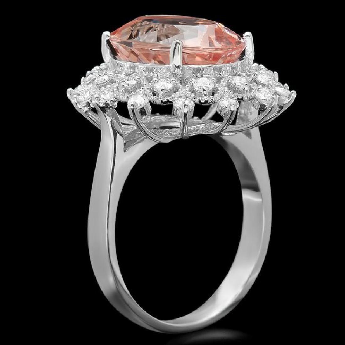 14k Gold 6.00ct Morganite 0.75ct Diamond Ring - 2