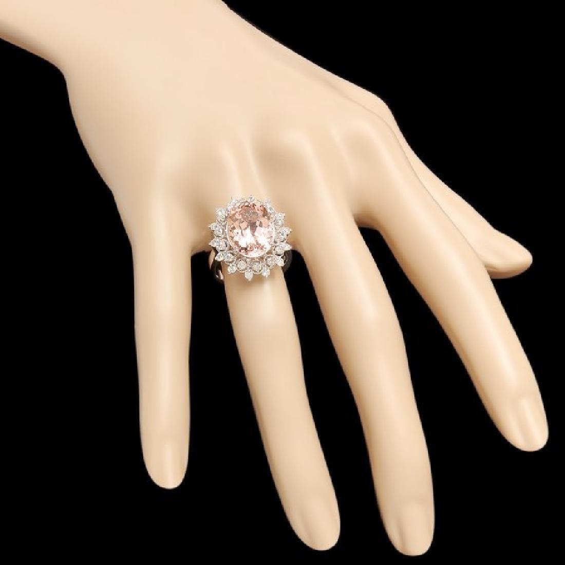 14k Gold 6.00ct Morganite 0.75ct Diamond Ring - 3