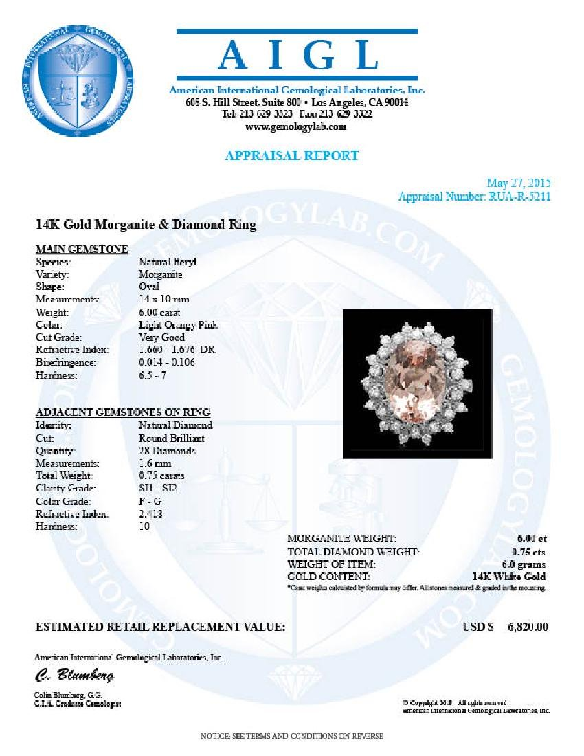 14k Gold 6.00ct Morganite 0.75ct Diamond Ring - 4