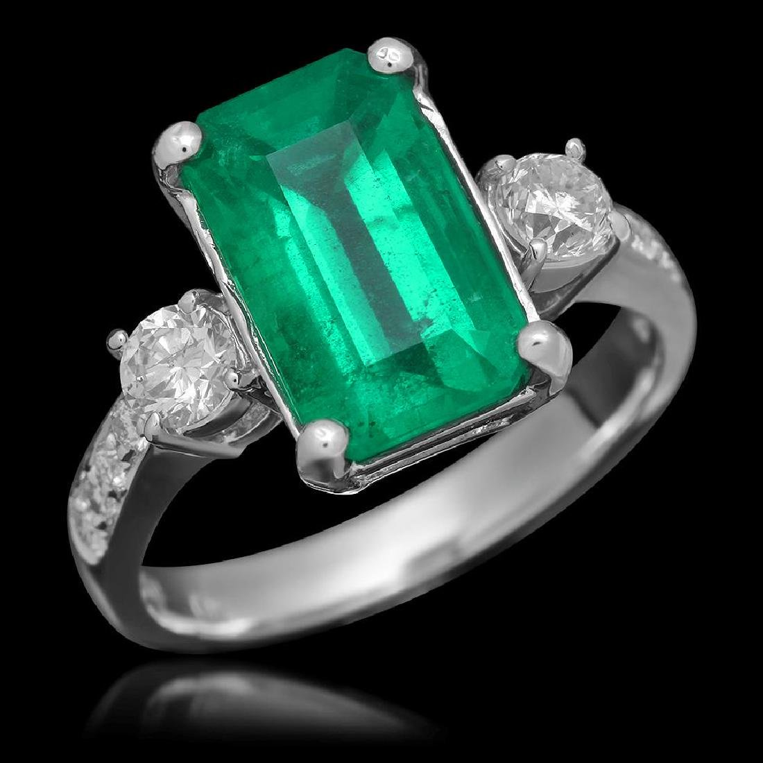18K Gold 3.68 Emerald .61 Diamond Ring