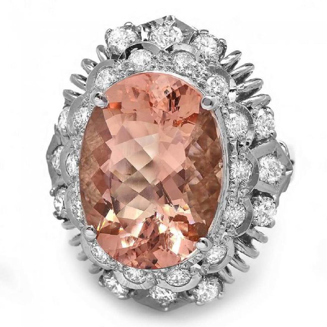 14k Gold 8.50ct Morganite 1.40ct Diamond Ring - 3