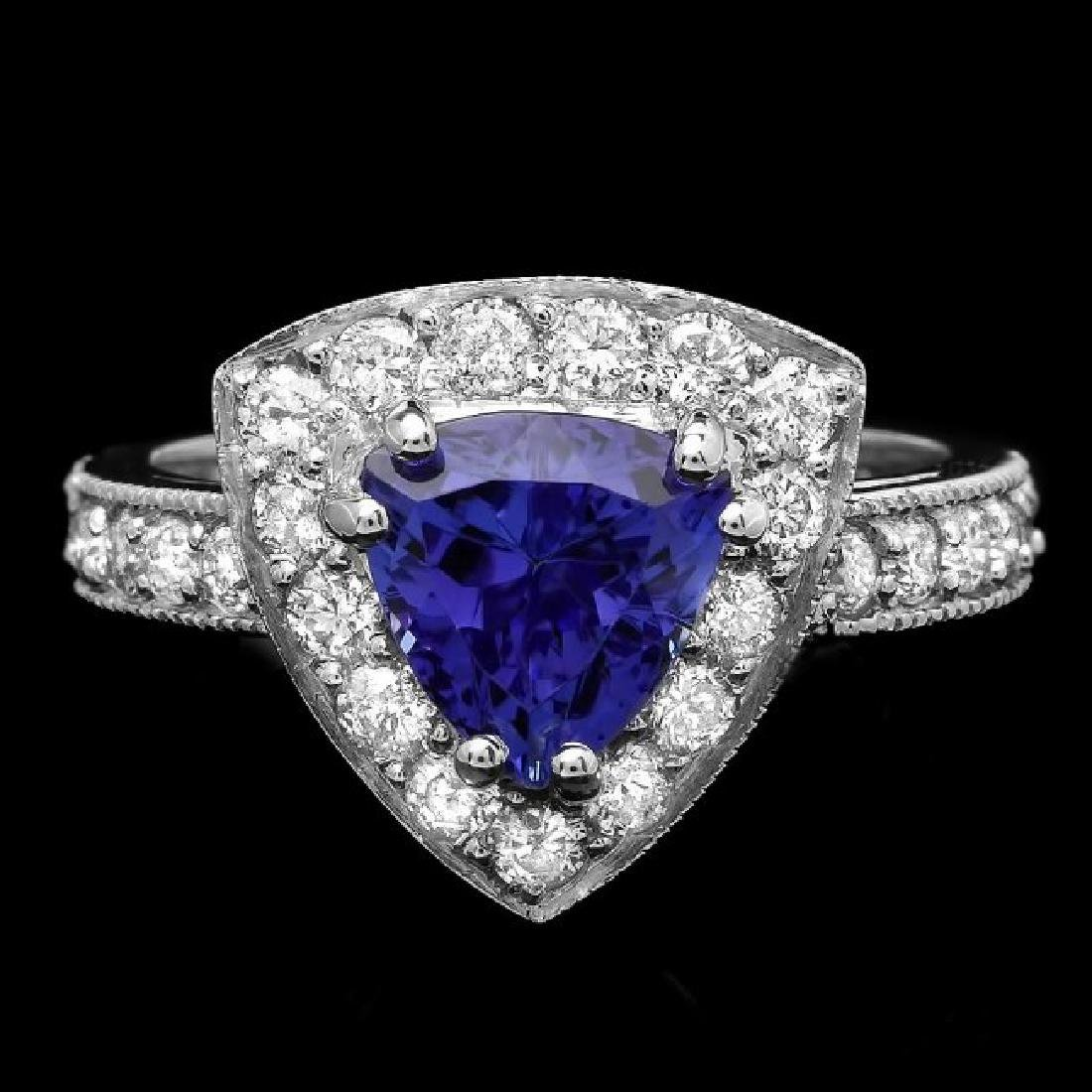 14k Gold 2.00ct Tanzanite 1.00ct Diamond Ring