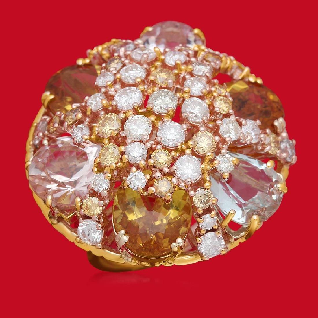 14K Gold 16.55ct Aquamarine, Morganite, Yellow Beryl