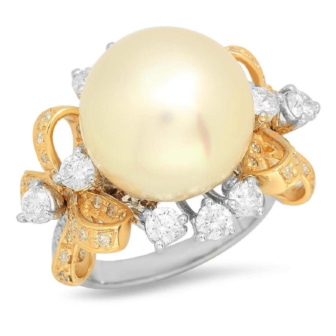 14K Gold 15mm South Sea Pearl 2.26cts Diamond Ring