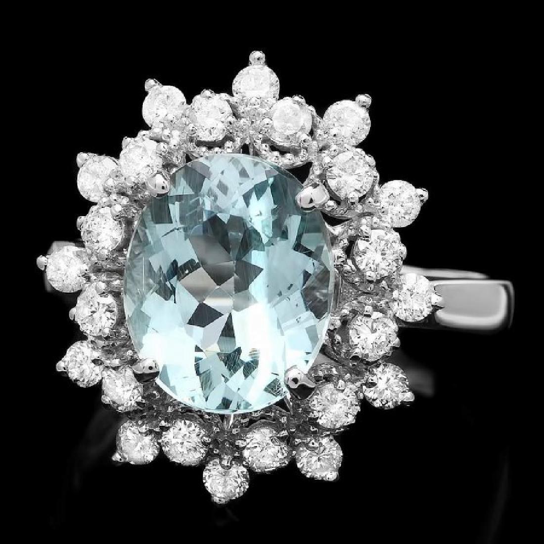14k Gold 2.50ct Aquamarine 0.60ct Diamond Ring