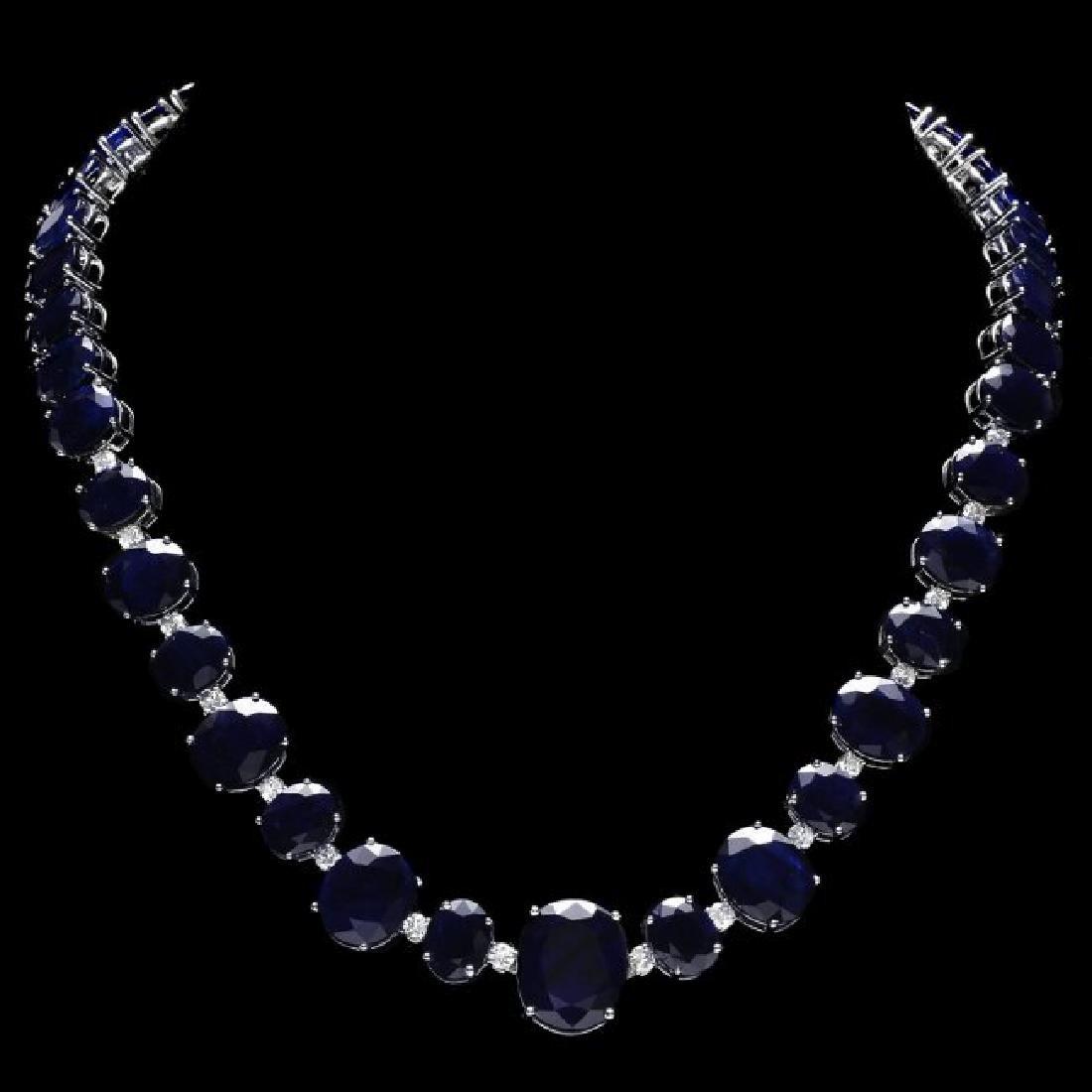 14k W Gold 164ct Sapphire 1.85ct Diamond Necklace