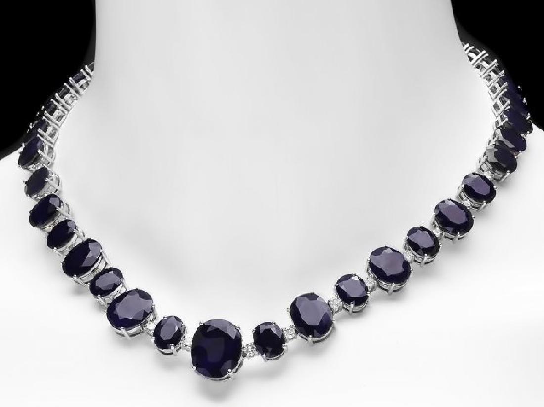 14k W Gold 164ct Sapphire 1.85ct Diamond Necklace - 2