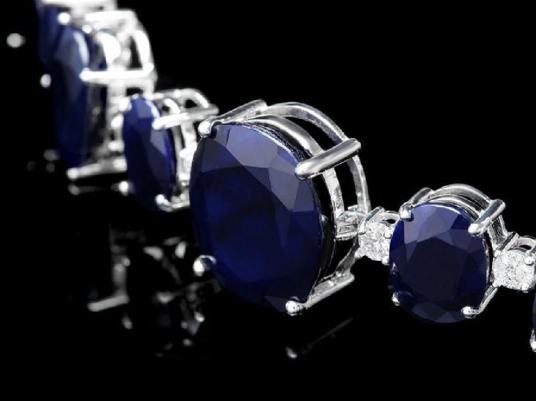 14k W Gold 164ct Sapphire 1.85ct Diamond Necklace - 4