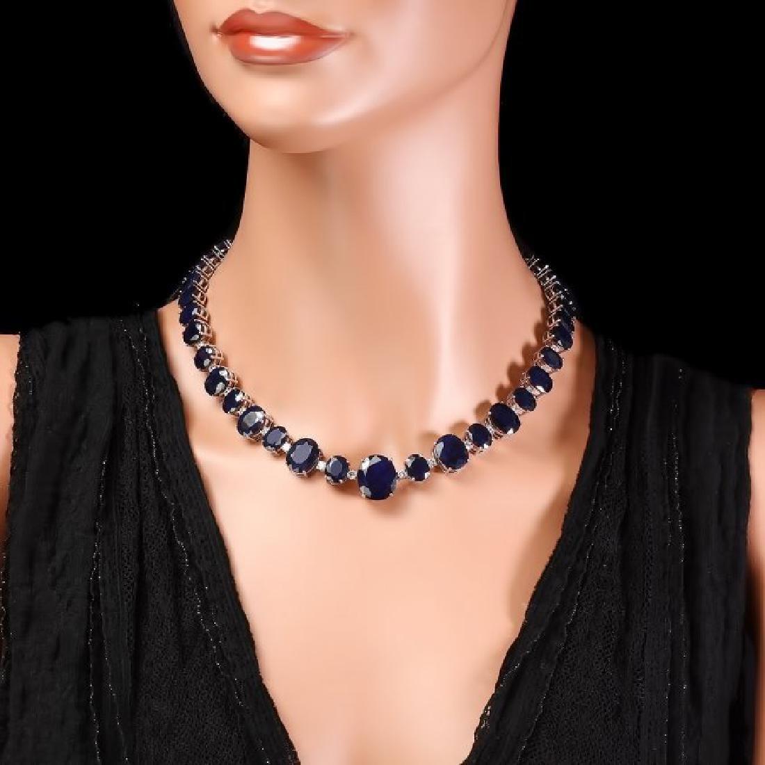 14k W Gold 164ct Sapphire 1.85ct Diamond Necklace - 7