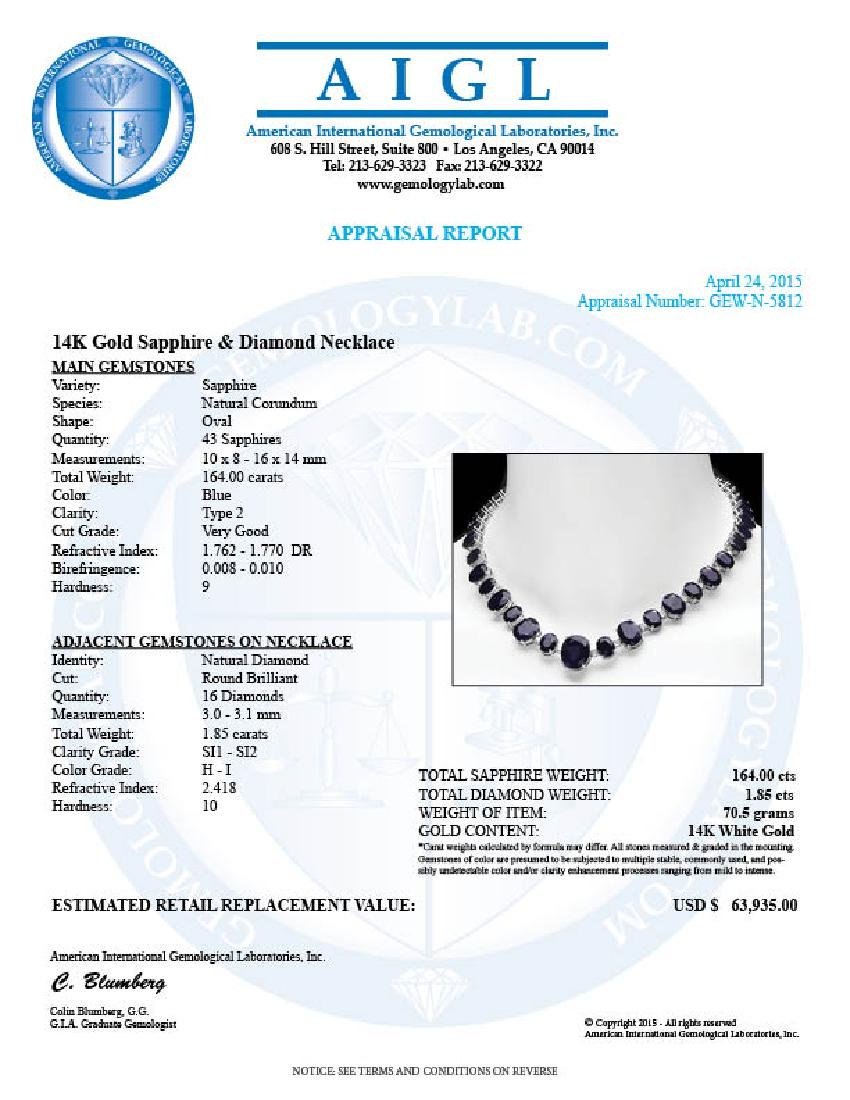 14k W Gold 164ct Sapphire 1.85ct Diamond Necklace - 8