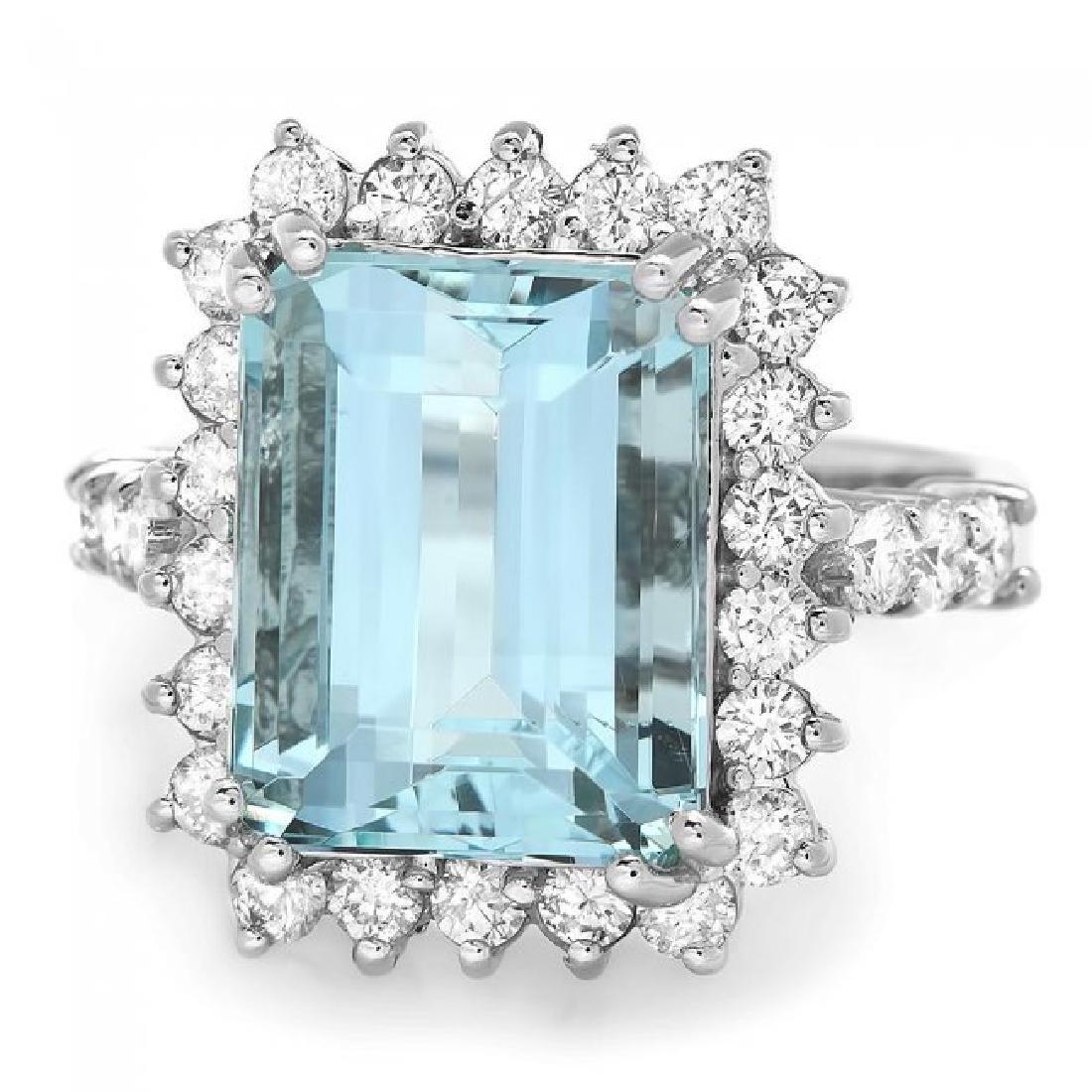 14k Gold 6.50ct Aquamarine 1.00ct Diamond Ring - 2