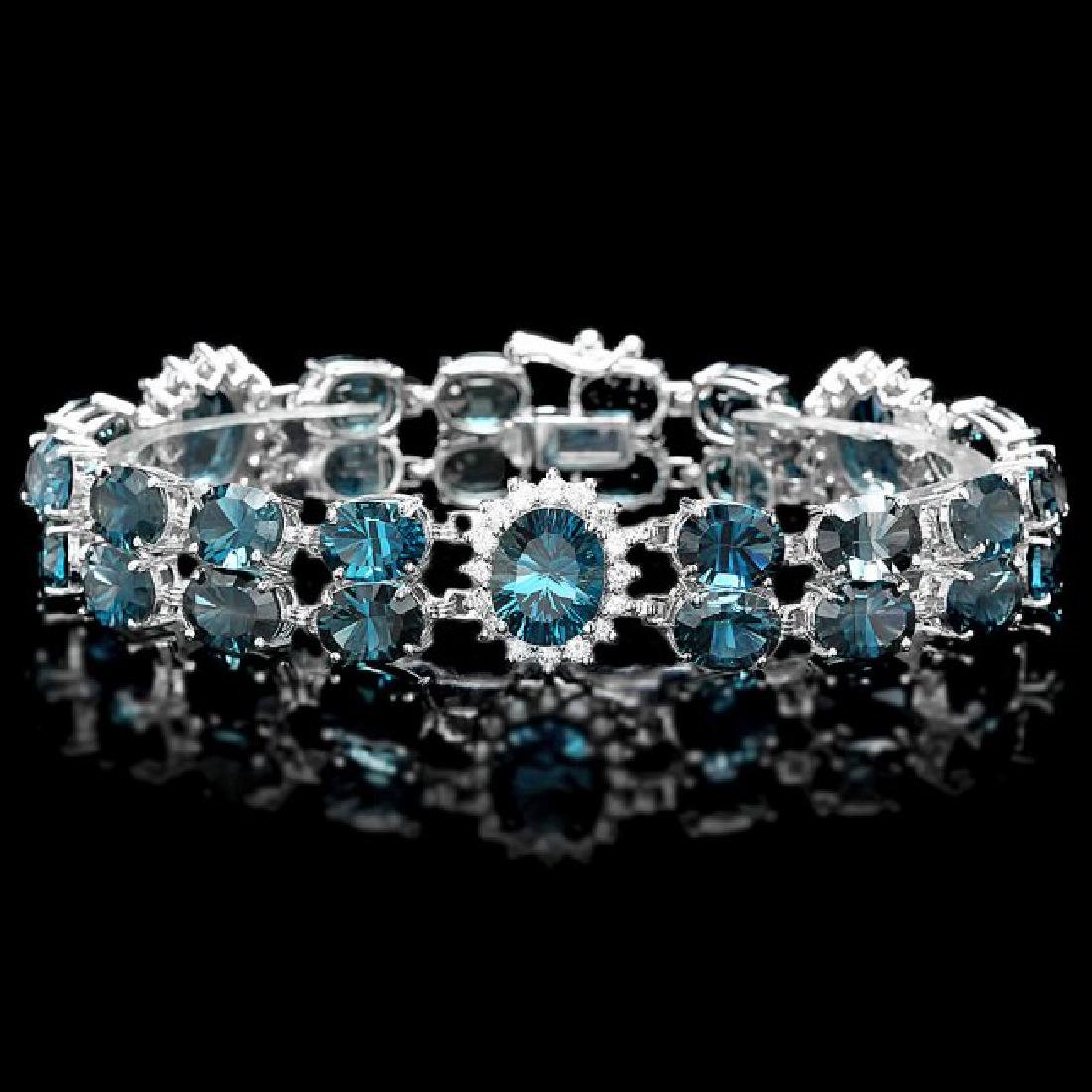 14k Gold 50.5ct Topaz 1.60ct Diamond Bracelet