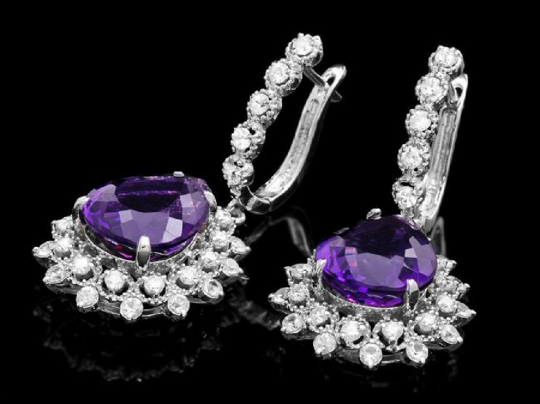 14k Gold 11ct Amethyst 2.10ct Diamond Earrings - 2