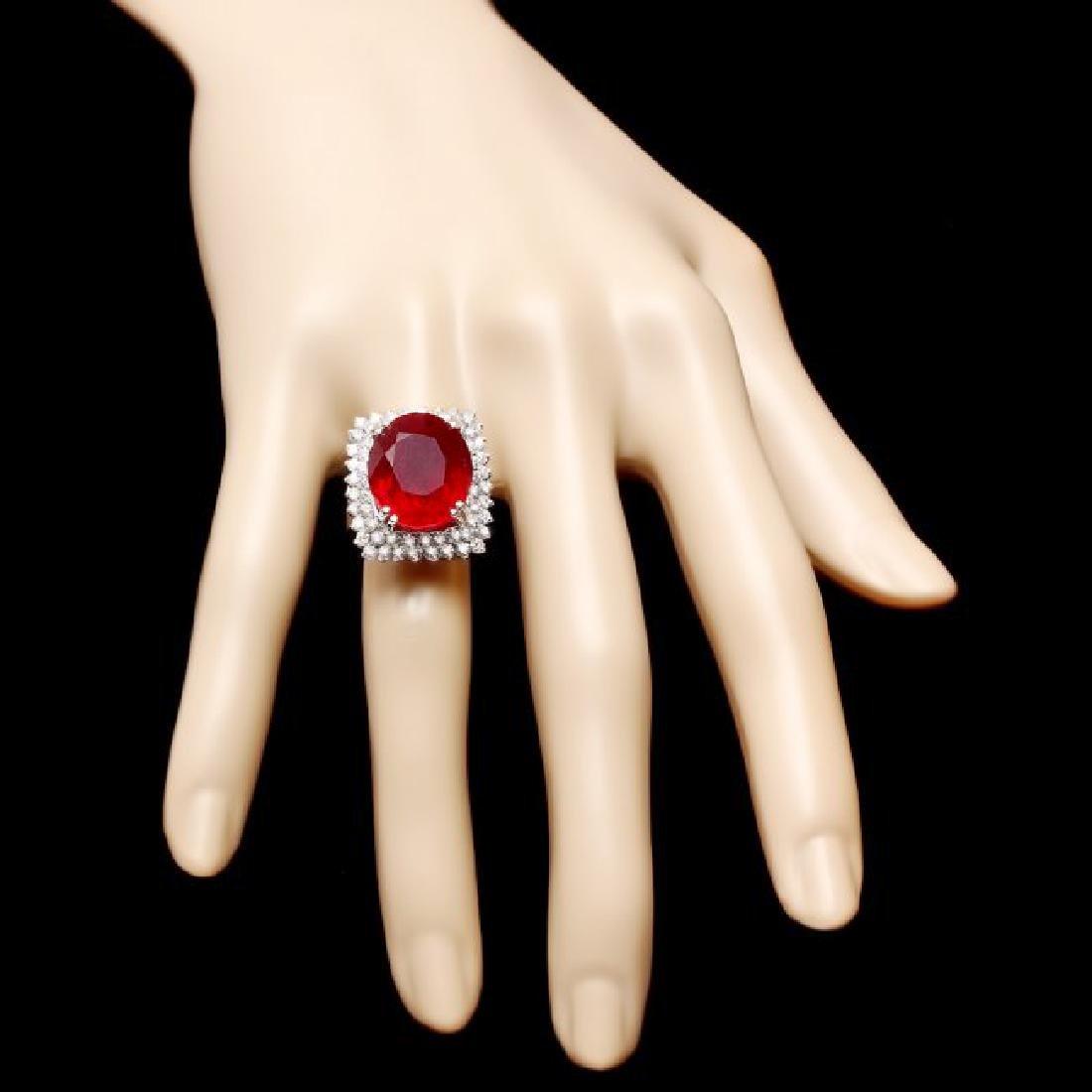 14k White Gold 17.50ct Ruby 1.50ct Diamond Ring - 4