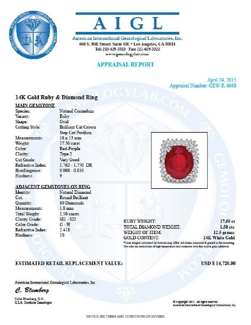 14k White Gold 17.50ct Ruby 1.50ct Diamond Ring - 5