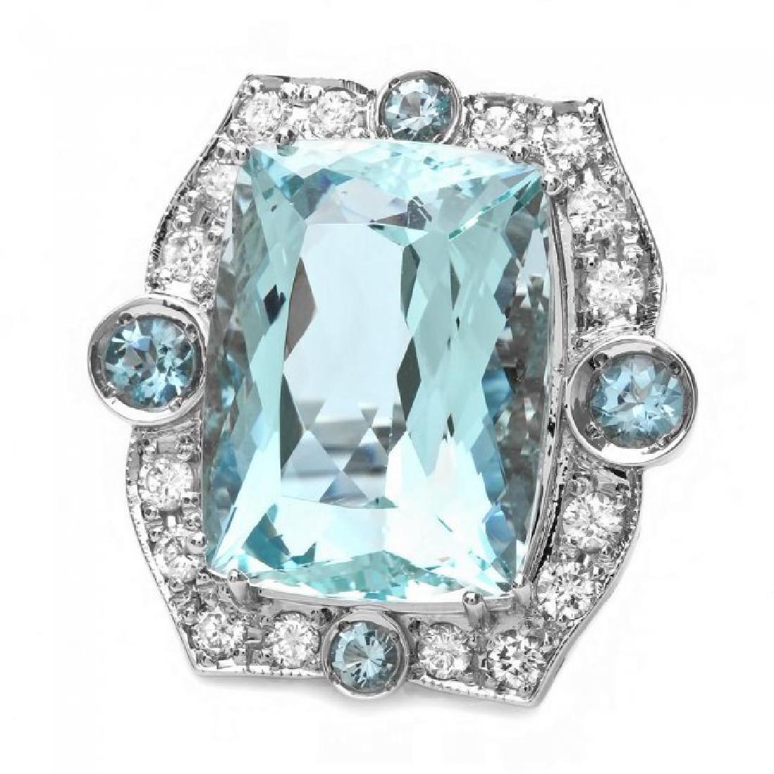 14k Gold 22ct Aquamarine 1.35ct Diamond Ring - 2