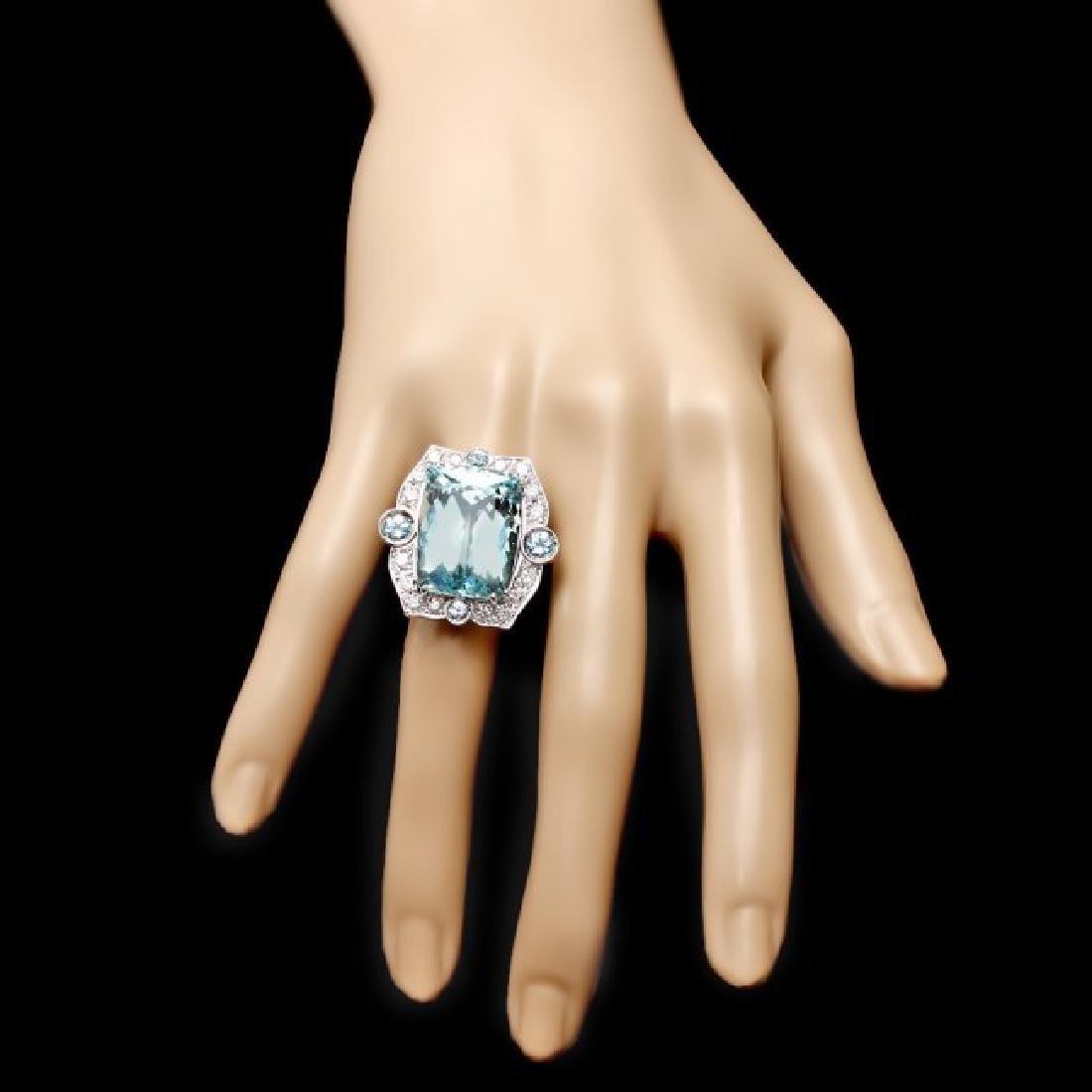 14k Gold 22ct Aquamarine 1.35ct Diamond Ring - 4