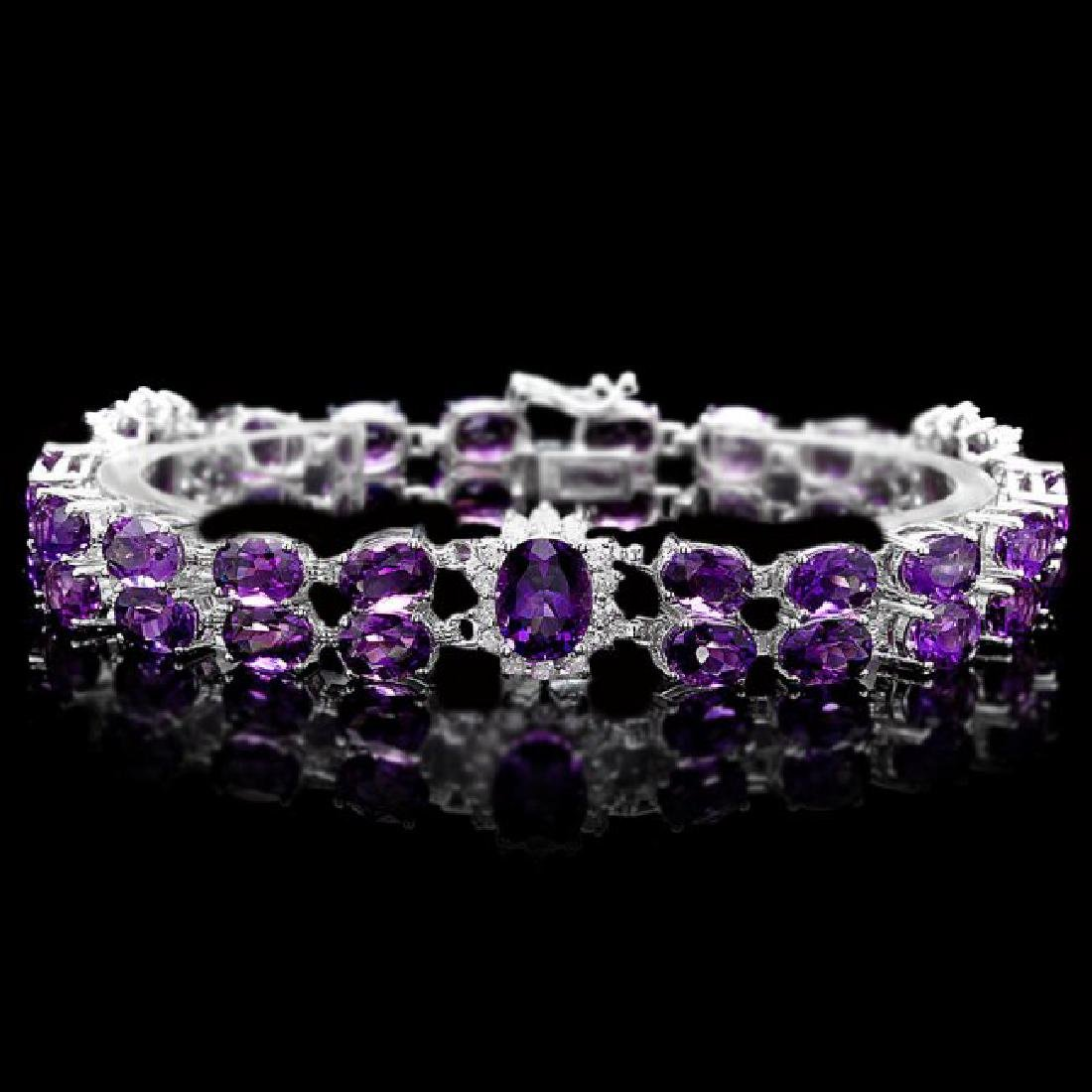 14k Gold 31ct Amethyst 1.40ct Diamond Bracelet