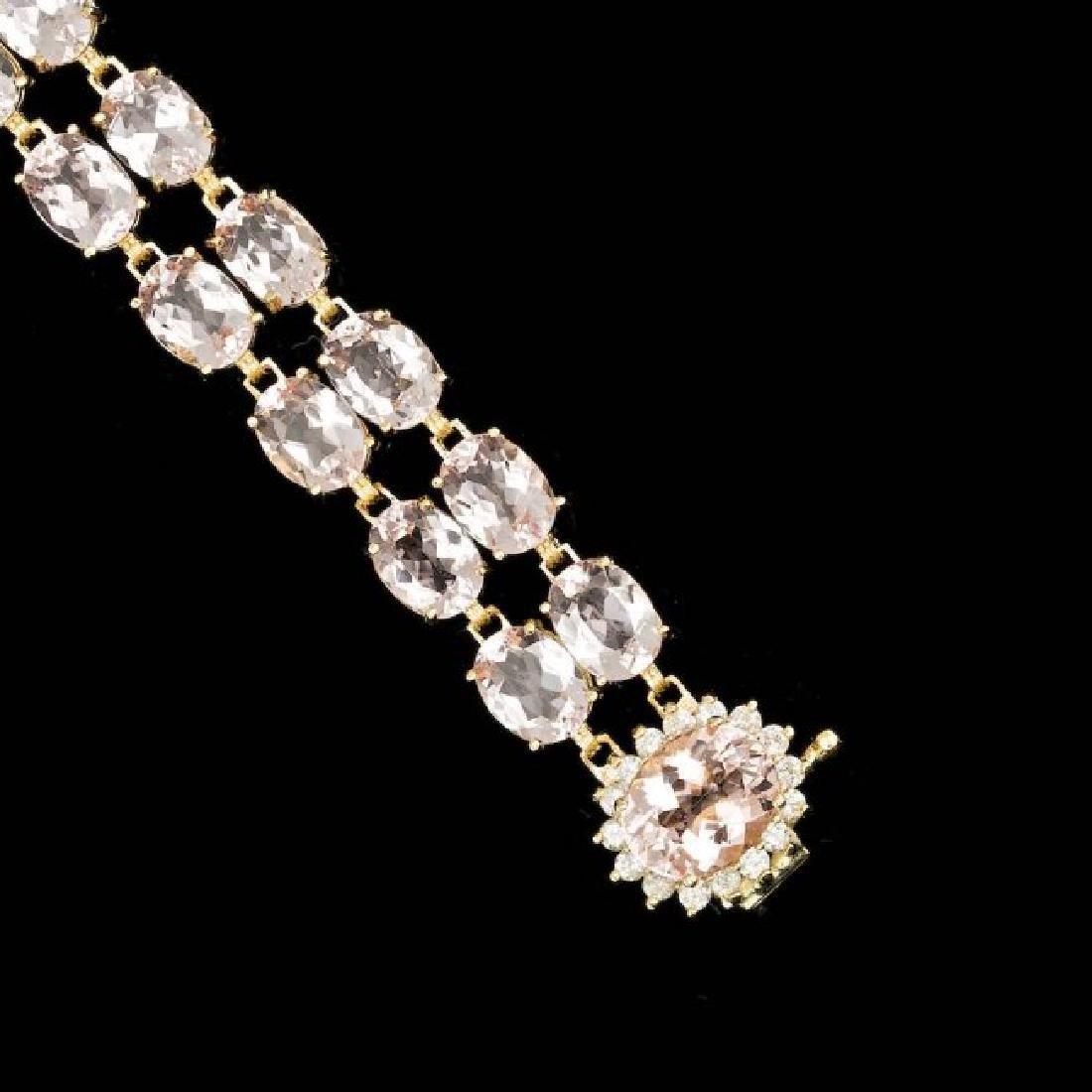 14k Gold 41.5ct Morganite 0.60ct Diamond Bracelet - 2