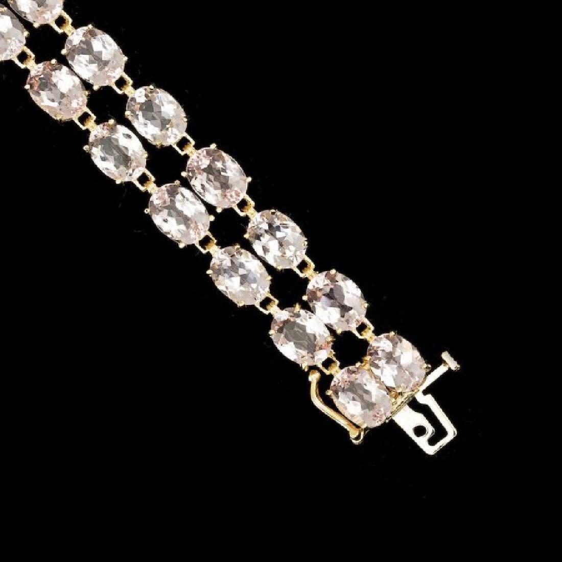 14k Gold 41.5ct Morganite 0.60ct Diamond Bracelet - 3