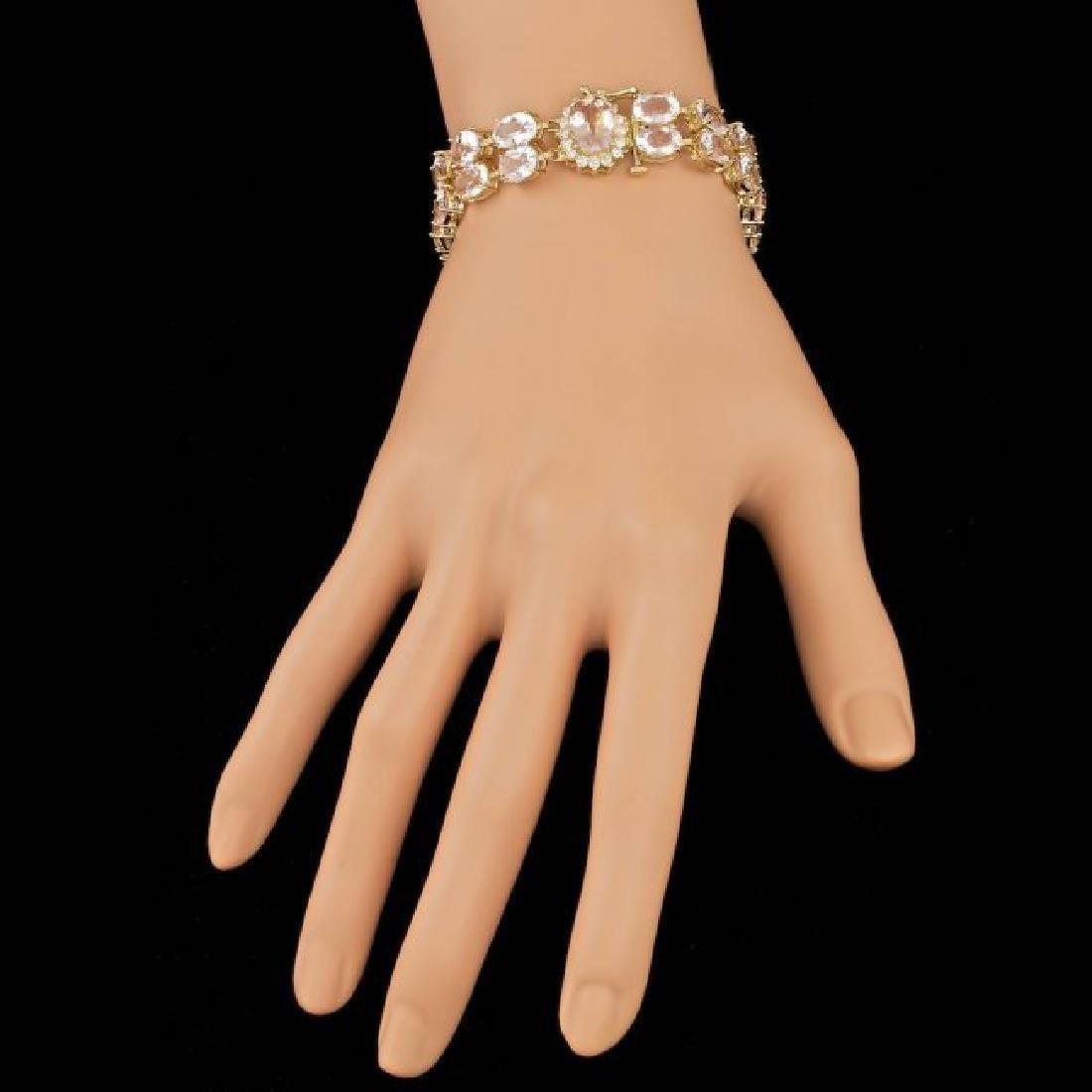 14k Gold 41.5ct Morganite 0.60ct Diamond Bracelet - 4