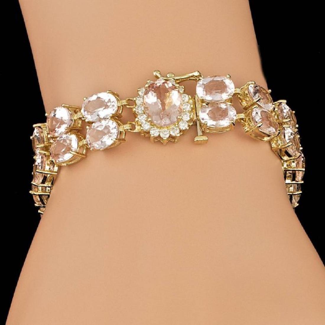 14k Gold 41.5ct Morganite 0.60ct Diamond Bracelet - 5