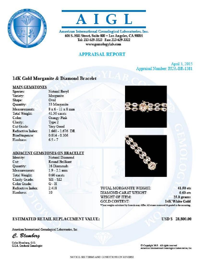 14k Gold 41.5ct Morganite 0.60ct Diamond Bracelet - 6