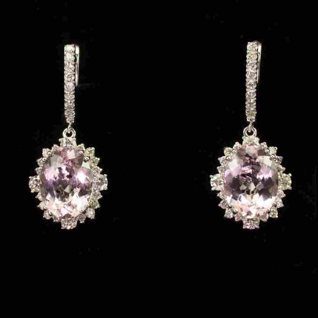 14K Gold 8.95ct Morganite 2.65ct Diamond Earrings