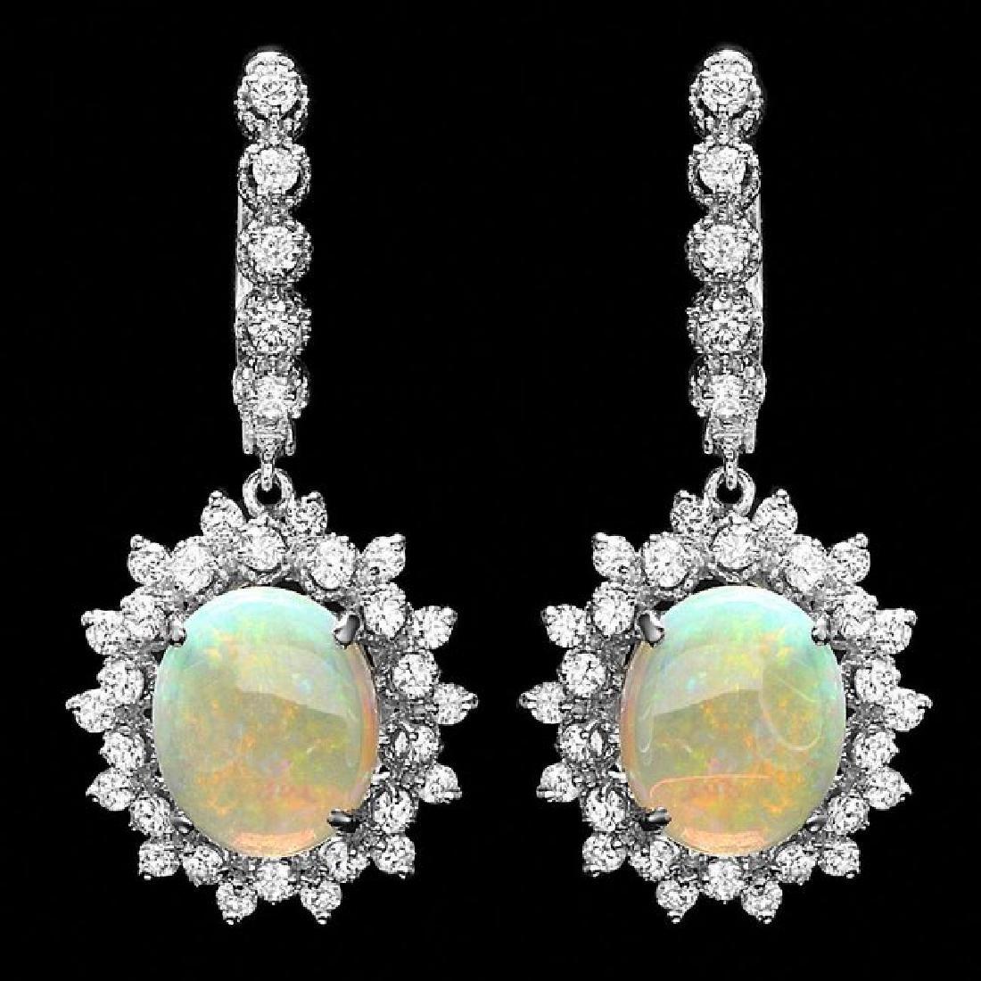 14k Gold 4.50ct Opal 1.90ct Diamond Earrings