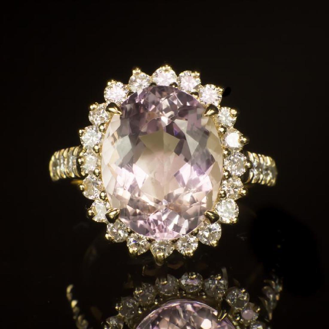 14K Gold 5.78ct Morganite 1.00ct Diamond Ring