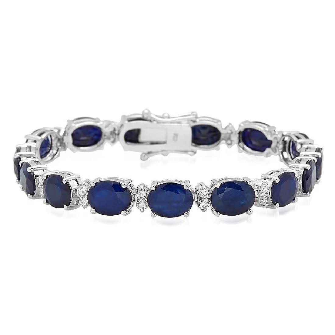 18K Gold 27.63ct Sapphire 1.41ct Diamond Bracelet