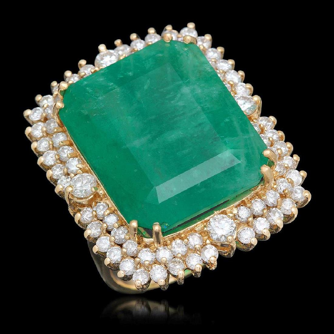 14K Gold 29.27 Emerald 2.52 Diamond Ring
