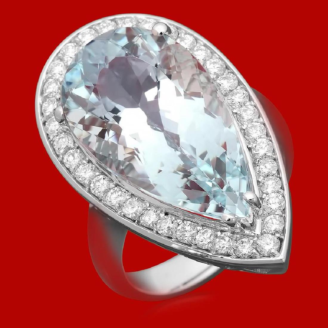 14k Gold 15.42ct Aquamarine 0.92ct Diamond Ring