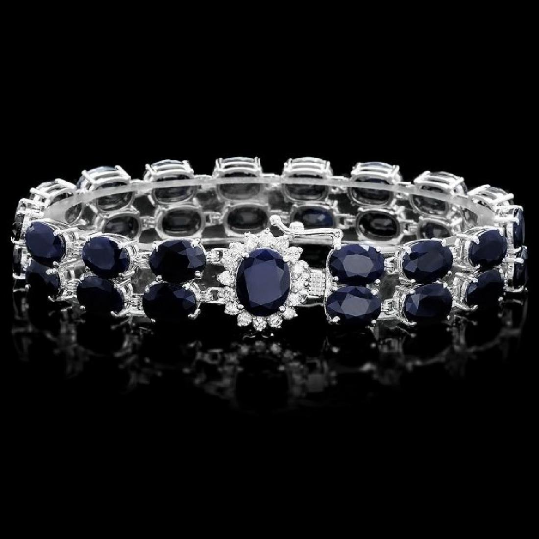 14k Gold 53.5ct Sapphire 0.60ct Diamond Bracelet