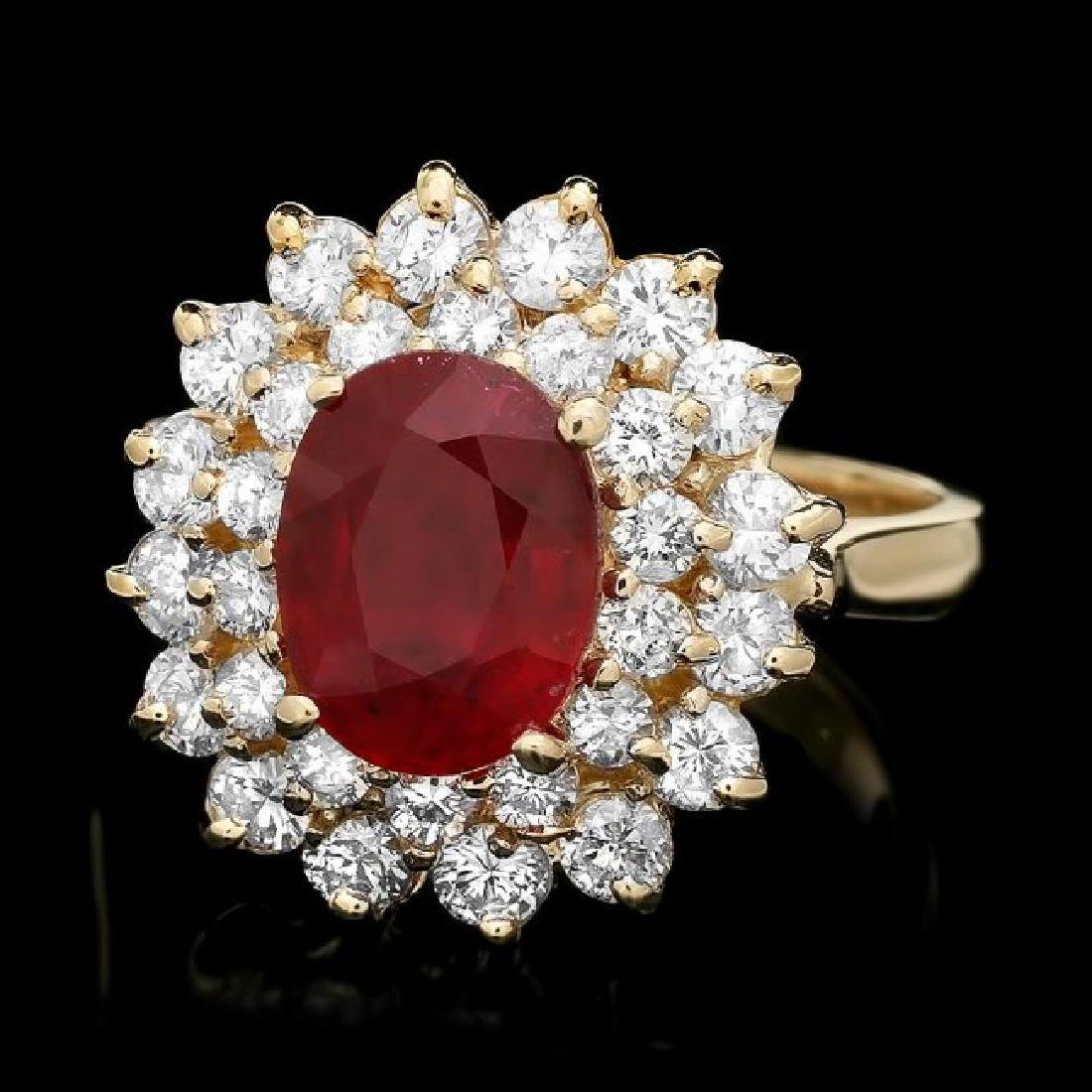 14k Yellow Gold 3.00ct Ruby 1.60ct Diamond Ring