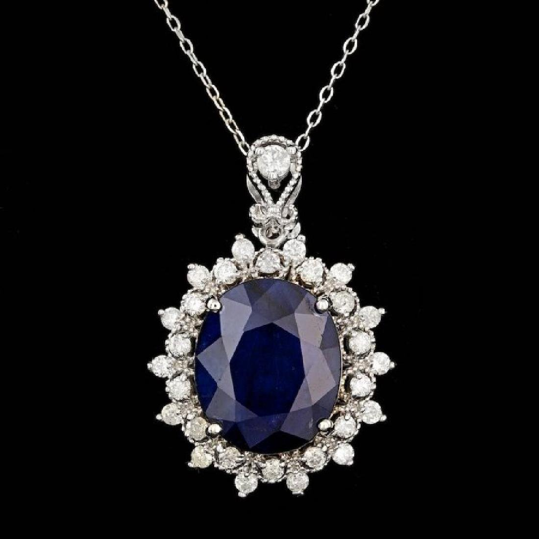 14k Gold 10.00ct Sapphire 0.80ct Diamond Pendant
