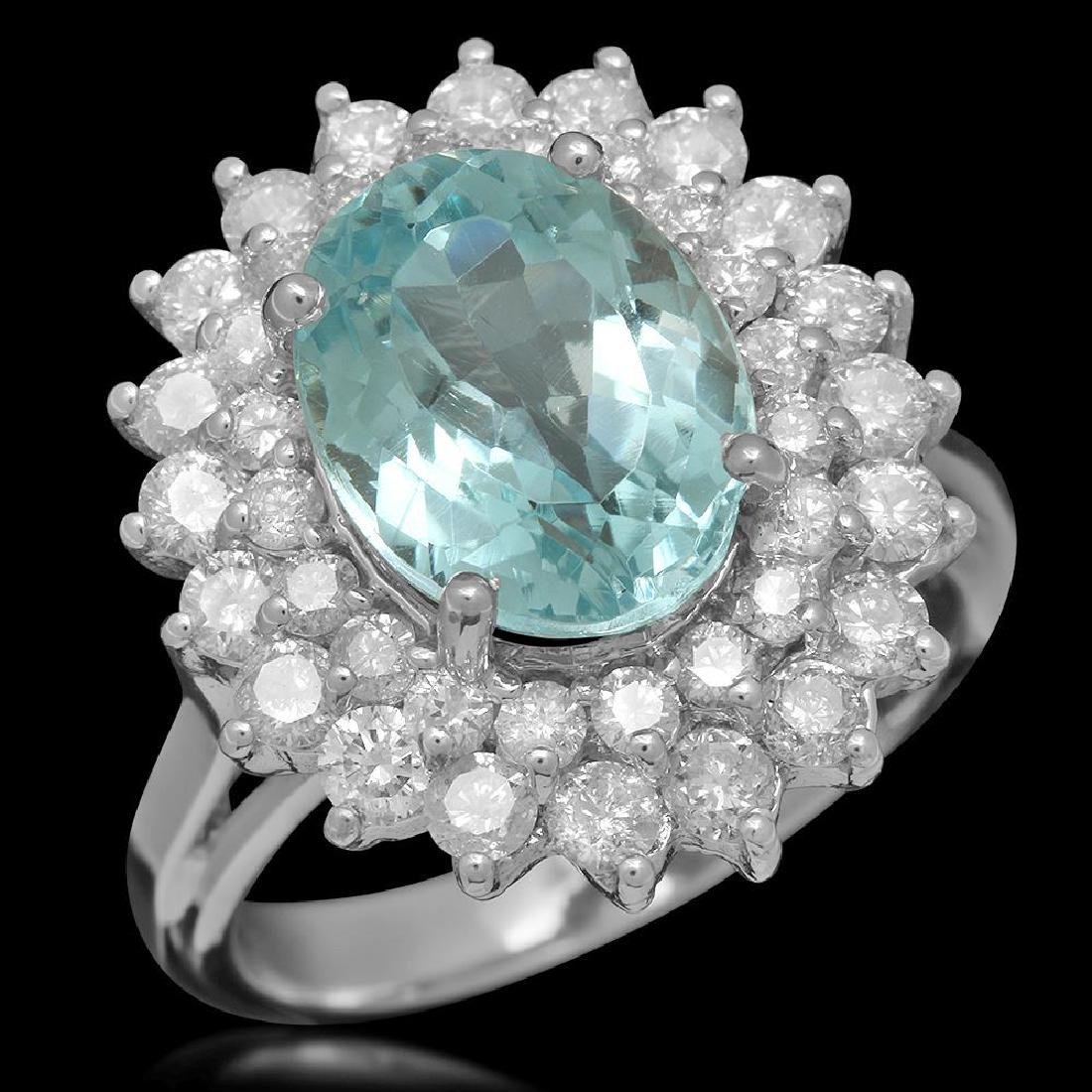 14K Gold 5.04ct Aquamarine 1.62ct Diamond Ring