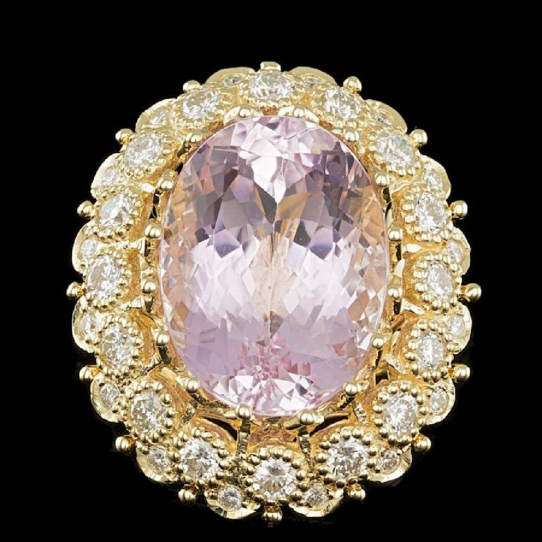 14k Gold 22.00ct Kunzite 2.45ct Diamond Ring