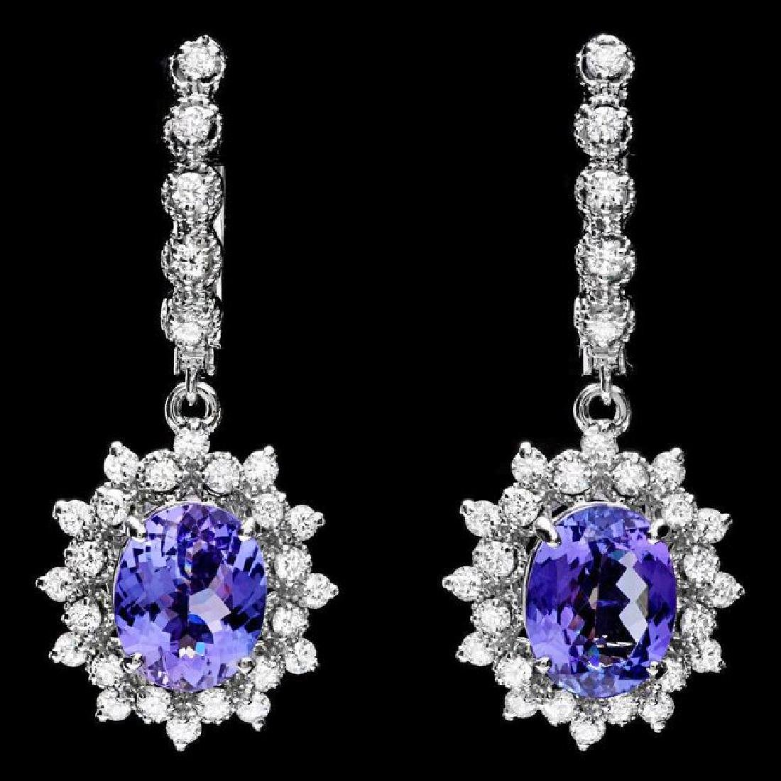 14k Gold 5ct Tanzanite 1.60ct Diamond Earrings