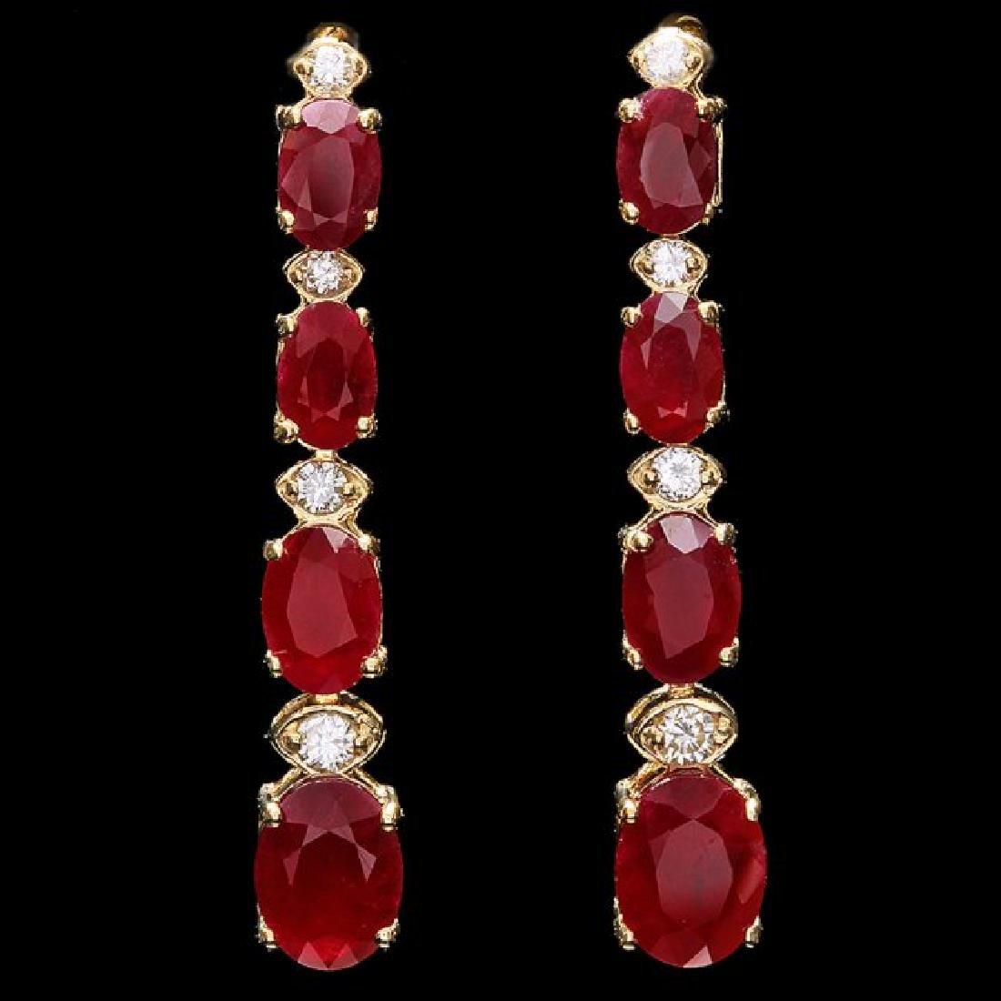 14k Gold 8.00ct Ruby 0.30ct Diamond Earrings