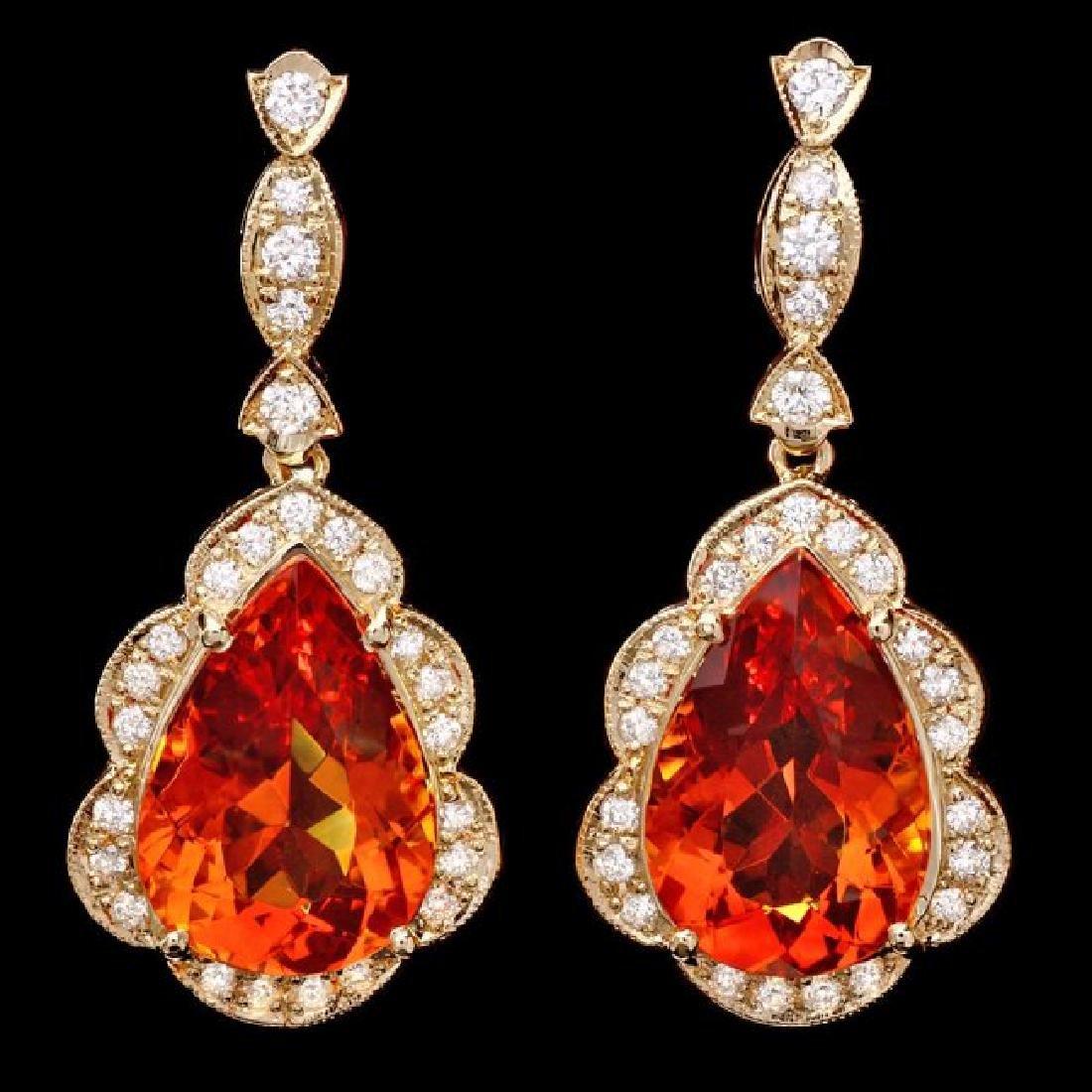14k Gold 17ct Citrine 1.40ct Diamond Earrings