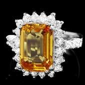 14k Gold 7.85ct Sapphire 1.00ct Diamond Ring