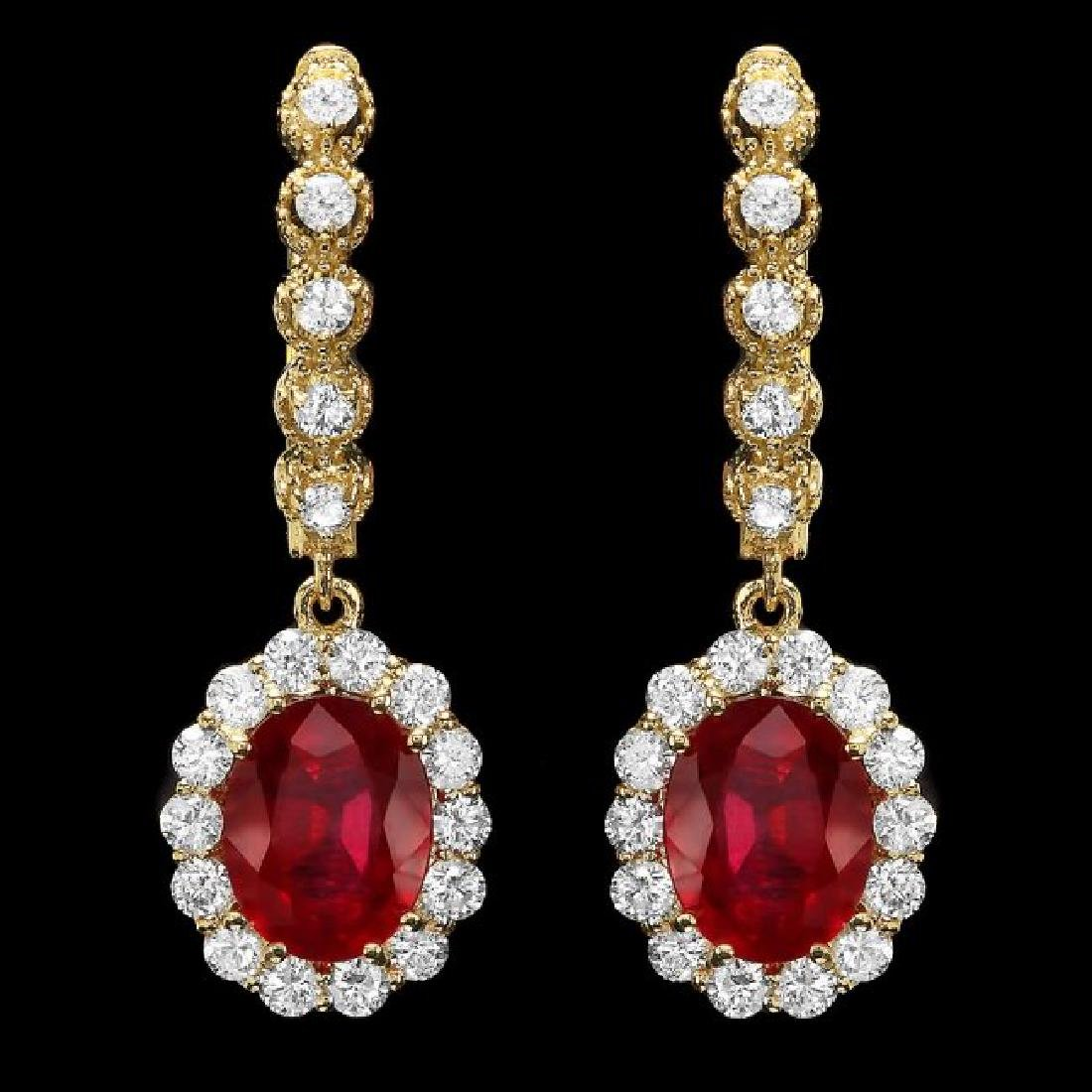 14k Gold 5.00ct Ruby 1.40ct Diamond Earrings