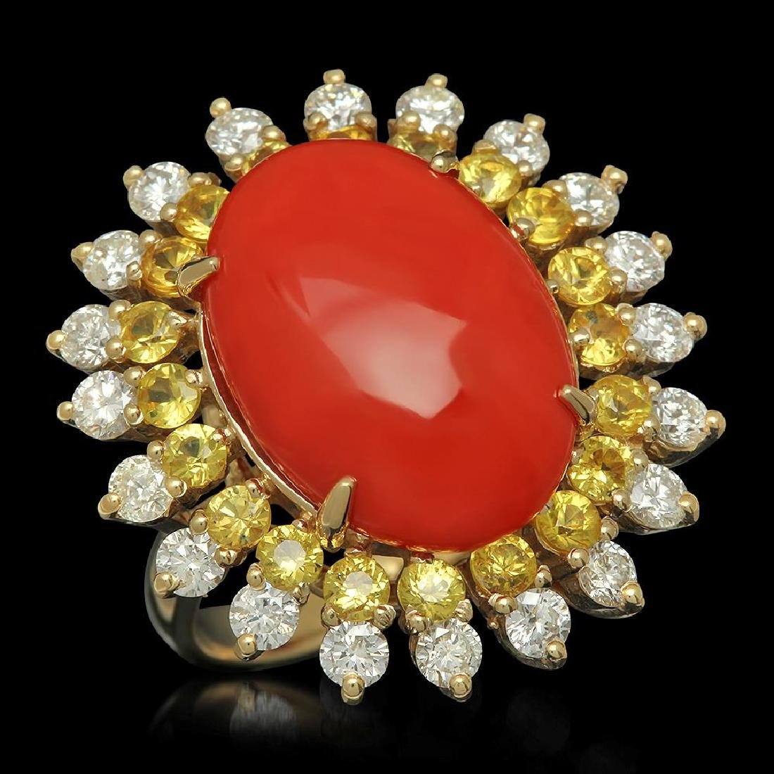 14K Gold 7.73ct Coral 1.82ct Sapphire 1.54ct Diamond