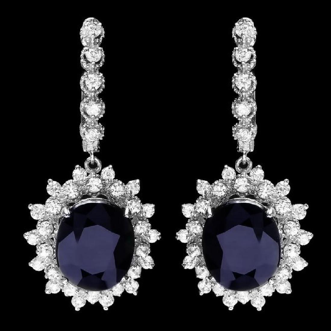 14k Gold 14.8ct Sapphire 2ct Diamond Earrings