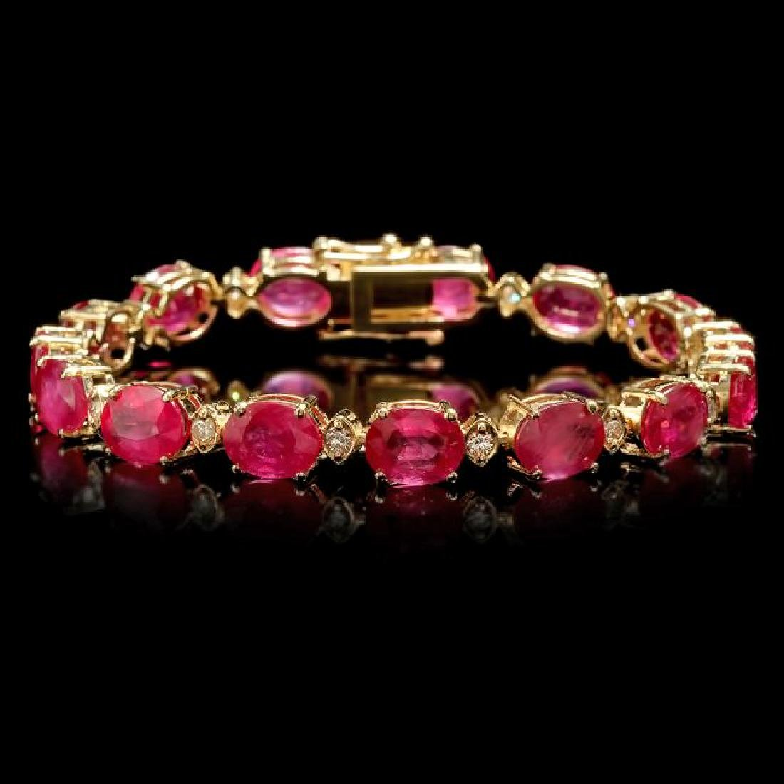 14k Gold 35.00ct Ruby 1.15ct Diamond Bracelet