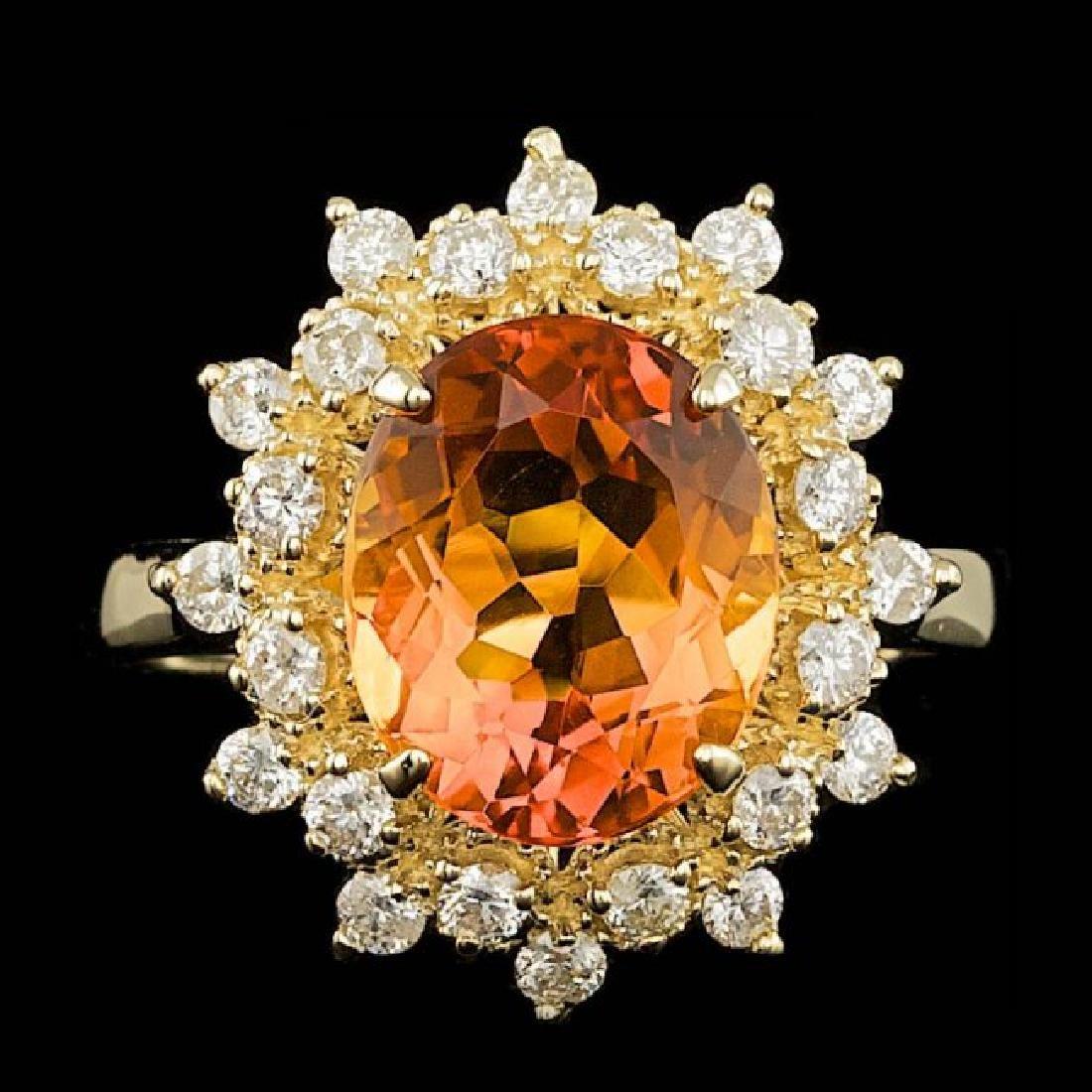 14k Gold 3.00ct Citrine 0.67ct Diamond Ring