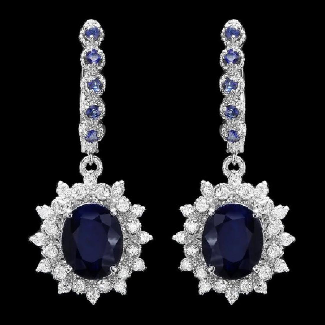 14k Gold 6.4ct Sapphire 1.00ct Diamond Earrings
